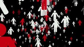 Roterende rijen van mensen in rode en witte kleuren vector illustratie