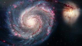 Roterende spiraalvormige melkweg Diepe ruimteexploratie stergebieden en nebulas in ruimte stock footage