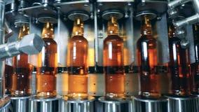 Roterende vervoerder die die flessen opnieuw vestigen met bier worden gevuld stock videobeelden