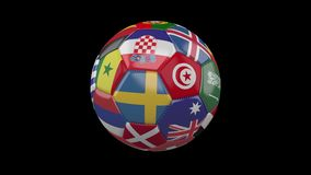 Roterende voetbalbal met vlaggen van landen die aan de Wereldbeker over voetbal in Rusland op zwarte achtergrond, lijn deelnemen stock illustratie