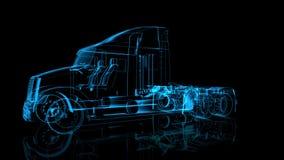 Roterende Vrachtwagen De zwarte en het blauw glanzen Vorming van Modelbig truck 360 Graad vector illustratie