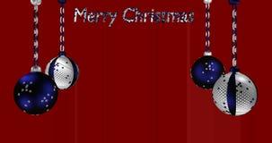 Roterende zilveren-blauwe Kerstboomballen stock videobeelden