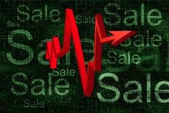 Rotes 3D Balkendiagramm auf Verkaufs-Hintergrund Lizenzfreies Stockbild