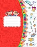 Rotes Abdeckungsschulnotizbuch in den Streifen Stockfotografie
