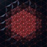 Rotes abstraktes Gitter auf einer dunklen Wiedergabe des Reflexionshintergrundes 3d Stockfoto