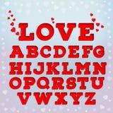Rotes Alphabet 3d mit Liebesaufschrift Stockfotografie