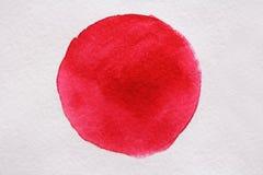 Rotes Aquarell auf Weißbuch Blühende Bäume auf den Querneigungen des Wicklungflusses lizenzfreies stockfoto