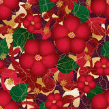 Rotes Art-Goldnahtloses Muster des Hibiscus vektor abbildung