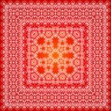 Rotes aufwändiges Schalmuster Stockbild