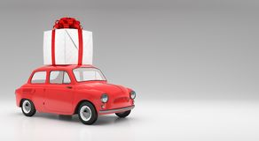 Rotes Auto-übertragen tragendes Weihnachtsgeschenk 3d stockfotos