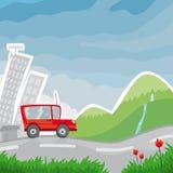 Rotes Auto in der Straße Lizenzfreie Stockbilder