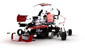 Rotes Auto explodiert Stockfoto