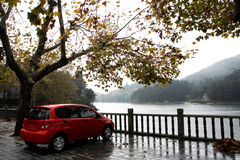 Rotes Auto im Herbst Stockbilder