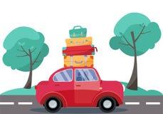 Rotes Auto mit Gepäck auf dem Dach Sommerfamilie, die mit dem Auto reist Flache Karikaturvektorillustration Auto-Seitenansicht mi stock abbildung