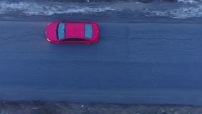 Rotes Auto von oben