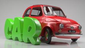 Rotes Automobil der Karikatur mit Karikaturgrüntext zerreißendes 3D Stockfotos