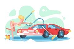 rotes Automobil der Mädchenreinigung vektor abbildung