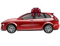 Rotes Automobil mit Bandbogen Auto als Geschenk Stockbild