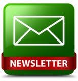 Rotes Band des grünen quadratischen Knopfes des Newsletters in der Mitte Lizenzfreie Stockbilder