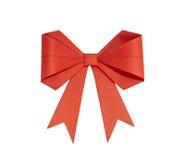 Rotes Band mit dem Bogen gemacht vom Papier auf einem weißen Hintergrund Stockbild