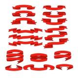 Rotes Band mit den Schattenfahnen eingestellt Stockbilder