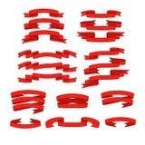 Rotes Band mit den Schattenfahnen eingestellt Lizenzfreies Stockbild