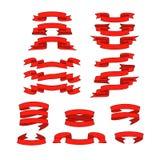 Rotes Band mit den Schattenvektorfahnen eingestellt Stockfotografie