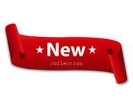 Rotes Band mit der neuen Sammlung der Wörter Stockfoto
