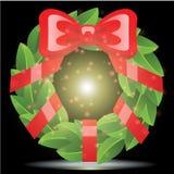 Rotes Band mit Weihnachtshintergrund und Grußkartenvektor stock abbildung