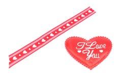 Rotes Band und Herz ich liebe dich für Valentinstag Lizenzfreies Stockfoto