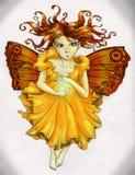 Rotes behaartes feenhaftes Mädchen, das magischen Bann wirft Stockfotos