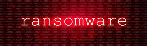 Rotes BG mit Code Cyber Angriff und Ransomware stock abbildung