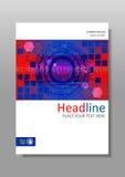 Rotes blaues Abdeckungsdesign mit futuristischem HUD kreist ein Vektor Stockbilder
