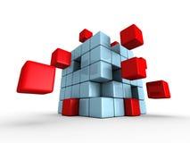 Rotes blaues Würfelpuzzlespiel auf weißem Hintergrund Stockfotos