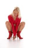 Rotes blondes Mädchen Lizenzfreie Stockbilder