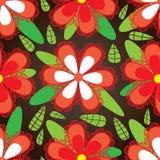 Rotes Blumen-Grün-Blatt-Muster Stockbilder