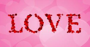 Rotes bokeh Liebeswort schreiben auf rosa Herzformhintergrund, Valentinstagfeiertagsereignis stock video
