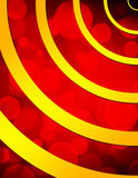Rotes Bokeh und goldene Ringe Stockfotografie
