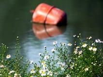 Rotes Bouy im düsteren Wasser mit wilden Blumen stockfotos