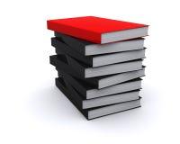 Rotes Buch auf dem Stapel des Mangels meldet an Stockfoto