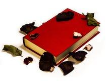 Rotes Buch mit den verblaßten Blumenblättern auf weißem Hintergrund Lizenzfreies Stockfoto