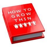 Rotes Buch mit Wörtern, wie man dünn wächst Stockbild
