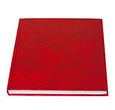 Rotes Buchlügen lokalisiert Stockbild