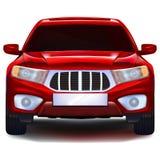 Rotes Crossover-Fahrzeug mit leerem Nummernschild Lizenzfreie Stockfotografie