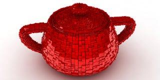 Rotes Cup auf einem weißen Hintergrund Stockfotografie