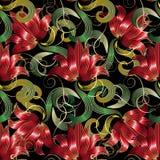 Rotes 3d blüht nahtloses Muster Schwarzer mit Blumenhintergrund des Vektors Lizenzfreie Stockbilder