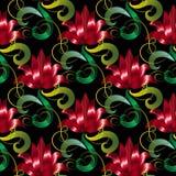 Rotes 3d blüht nahtloses Muster Schwarzer mit Blumenhintergrund des Vektors Lizenzfreies Stockbild