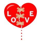 Rotes defektes Herz mit der Aufschriftliebe, aufgenommen, Klebeband Tropfen des Bluts Vektor vektor abbildung