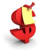 Rotes Dollar-Symbol mit Papieranmerkungs-Stoß Pin lizenzfreie abbildung