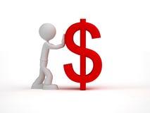 rotes Dollarzeichen des kleinen Stoßes des Mannes 3d Lizenzfreie Stockfotos